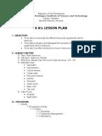 4As Lesson Plan