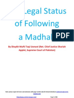 Legal Status Of Following A Madhab