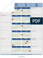 2016 Calendar With Notes for Excel