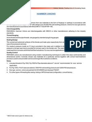 Hammer Unions Fig De | Pipe (Fluid Conveyance) | Industries