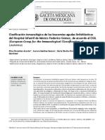 Clasificación Inmunológica de Las Leucemias Agudas Linfoblásticas