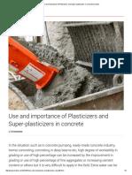 Role of Plasticizers and Super-plasticizers in Concrete