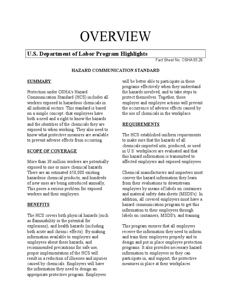 Hazard Communication Overviewdocx | Occupational Safety And Health