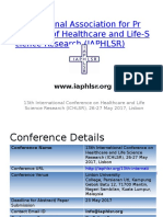 13th International Conference on Healthcare and Life Science Research (ICHLSR), 26-27 May 2017, Lisbon