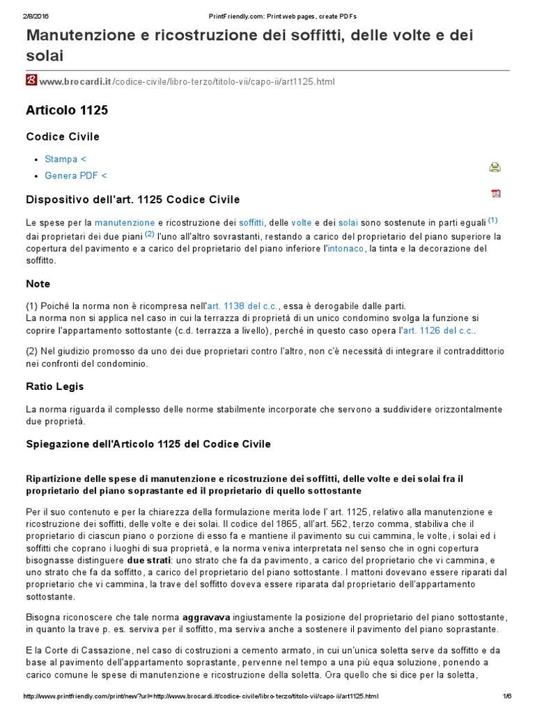 Codice Civile Art 1125 Balconi Terrazze Condomini Sentenza