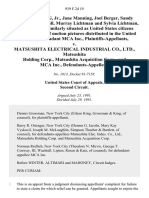 Cyril C. Young, Jr., Jane Manning, Joel Berger, Sandy Berger, Stephen Null, Murray Lichtman and Sylvia Lichtman, and All Persons Similarly Situated as United States Citizens Who Are Viewers of Motion Pictures Distributed in the United States by McA Inc. v. Matsushita Electrical Industrial Co., Ltd., Matsushita Holding Corp., Matsushita Acquisition Corp., and McA Inc., 939 F.2d 19, 2d Cir. (1991)