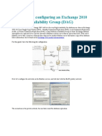 Creating and Configuring an Exchange 2010 Database Availability Group
