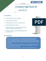 NC AP111 150bps High Power Wireless Outdoor Router Datasheet V1.1