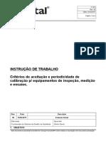IT 057 Criterios de Aceitacao e Periodicidade de Calibracao Para Equipamentos de Inspecao Medicao e Ensaios