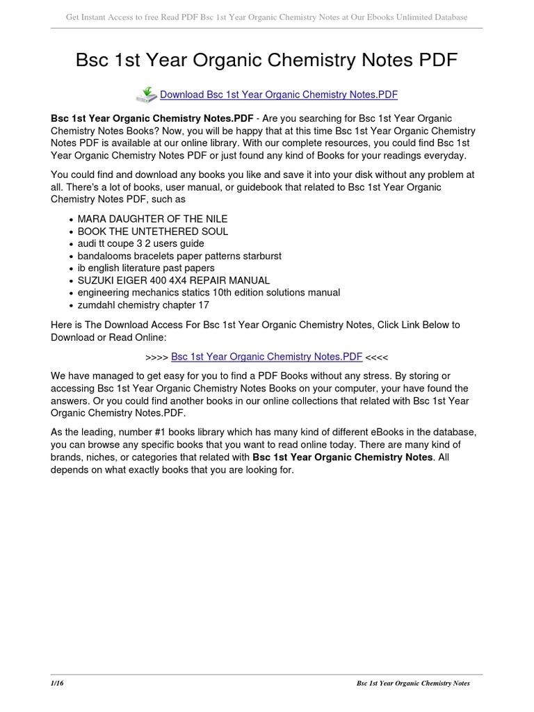 Chemistry basics pdf organic