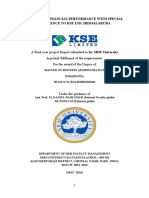 """front page """"A STUDY ON FINANCIAL PERFORMANCE WITH SPECIAL REFERENCE TO KSE LTD, IRINJALAKUDA"""""""