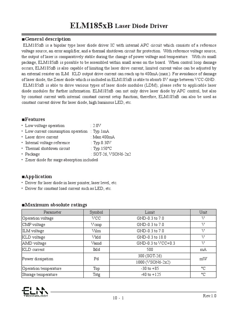 Elm185 Series Diode Anode Laser Driver Circuit Wiring Diagram