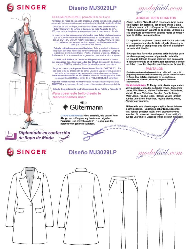 Instrucciones de Corte y Confección Del Abrigo y El Pantalón MJ3029lp