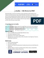 Crops in India GK Notes in PDF
