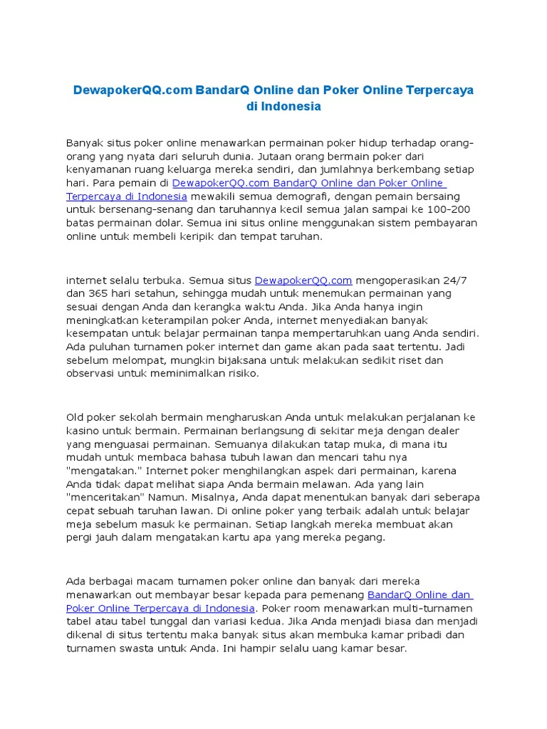Dewapokerqq Com Bandarq Online Dan Poker Online Terpercaya Di Indonesia