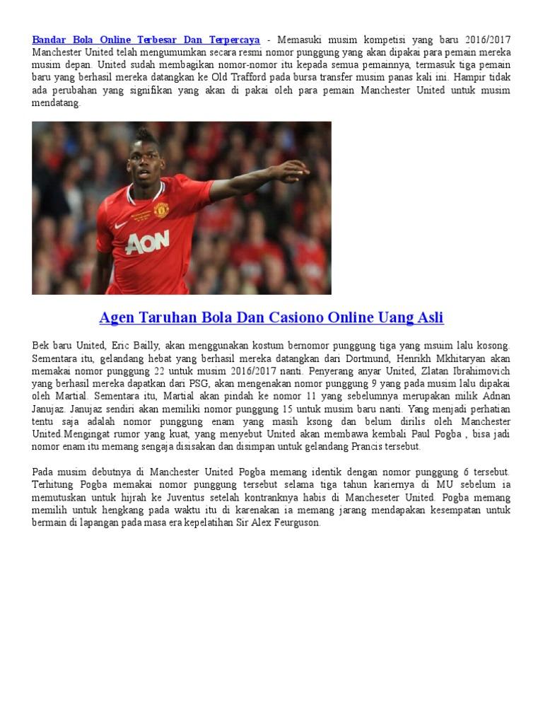 Bandar Judi Bola Manchester United Sisakan Nomor 6 Untuk Pogba