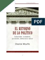 Mouffe Chantal - El Retorno de Lo Politico