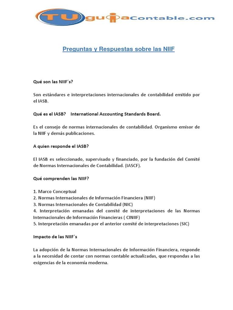 Preguntas Y Repuestas Sobre Las Niif 1 Normas Internacionales De Informacion Financiera Economias