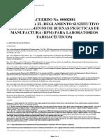 A 2881 Reglamento Sustitutivo Del Reglamento de BPM Para Laboratorios Farmacéuticos Reforma