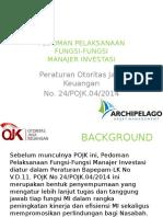 Pedoman Pelaksanaan Fungsi-fungsi Manajer Investasi