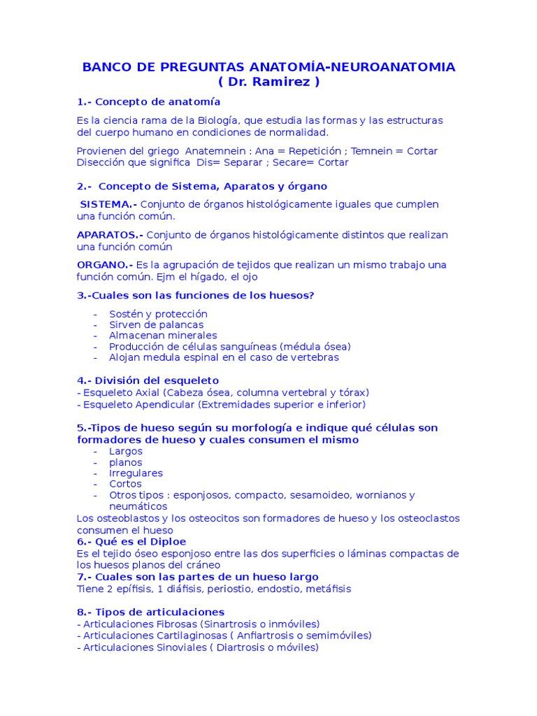 BANCO DE PREGUNTAS ANATOMÍA