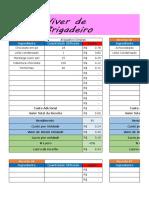 Planilha de Custos e Preço de Venda Viver de Brigadeiro
