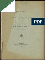 Benot, Eduardo (1889). ¿Qué Es Hablar Discurso de Ingreso en La Academia