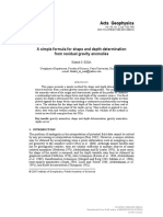 [Acta Geophysica] a Simple Formula for Shape and Depth Determination From Residual Gravity Anomalies