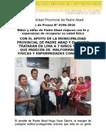 Nota de Prensa 2016 - 196