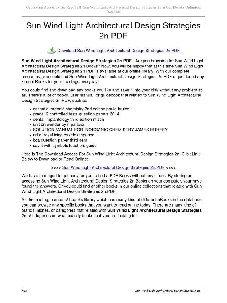 Sun Wind Light Architectural Design Strategies 2n  E Books  Portable  Document Format