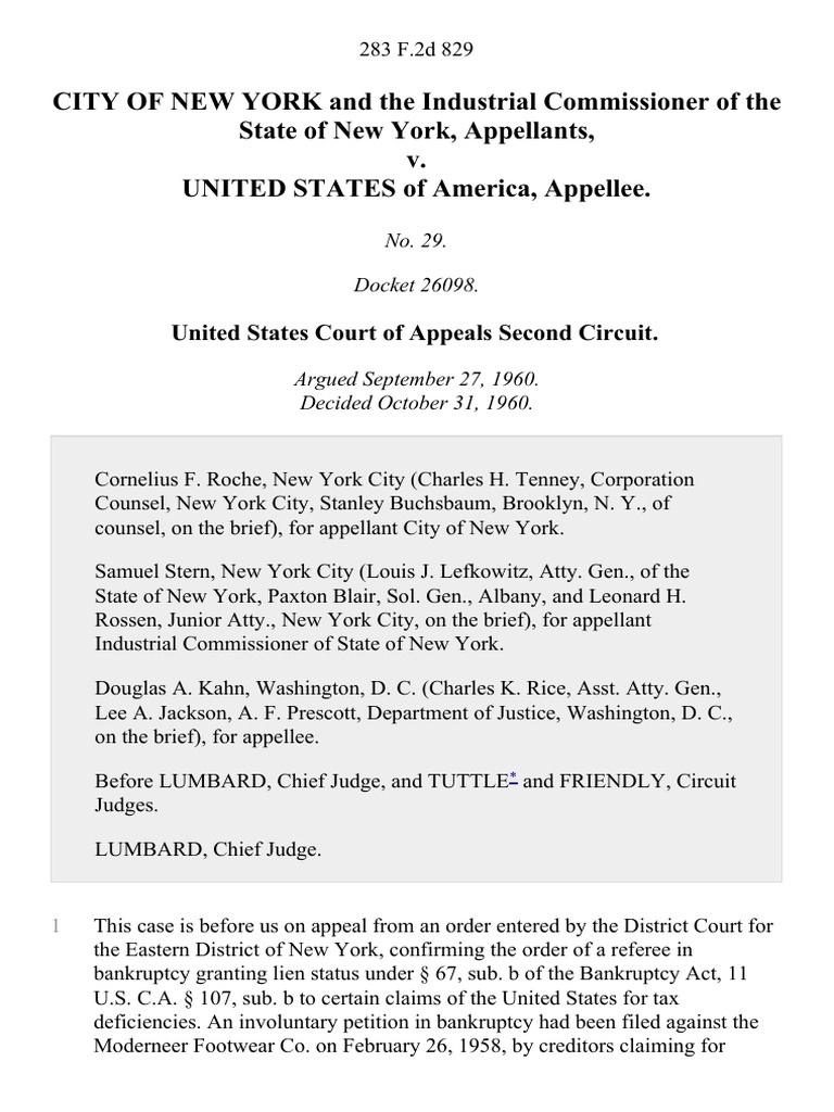 City Of New York And The Industrial Commissioner Of The
