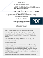 Rose L. Kramer, 100% Stockholder Finast Metal Products, Inc. v. Secretary, United States Department of the Army and Chief, Legal Department of the Department of the Army, 653 F.2d 726, 2d Cir. (1980)