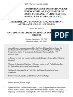 Neil D. Levin, Superintendent of Insurance of the State of New York, as Liquidator of Nassau Insurance Company, in Liquidation, Plaintiff-Appellee-Cross-Appellant v. Tiber Holding Corporation, Defendant-Appellant-Cross-Appellee, 277 F.3d 243, 2d Cir. (2002)