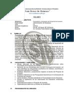 Sílabo Formulación y Evaluación de Proyectos 2016-II