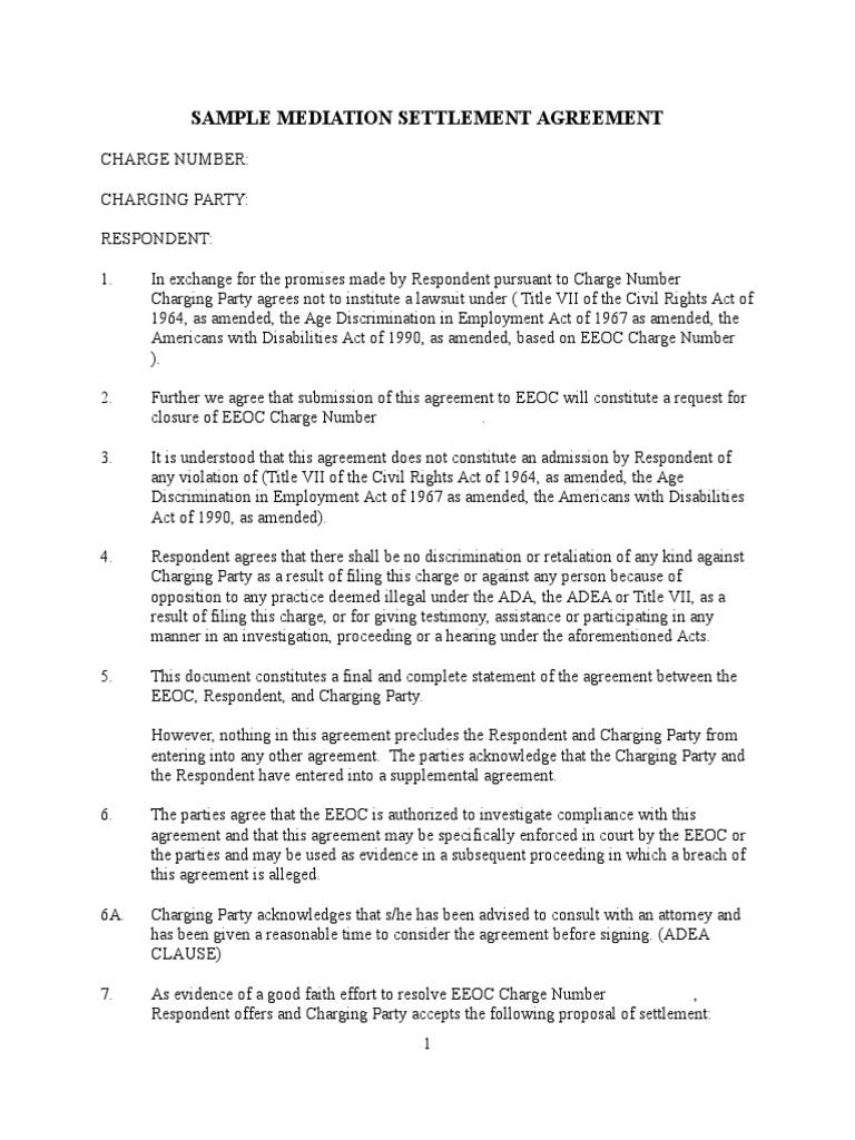 Sample Eeoc Mediation Settlement Agreement Equal Employment