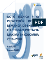 UPME Nota Tecnica Demanda Energia Electrica Enero 2016