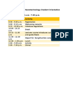 Nanoscience and Nanotechnology Student Orientation Schedule