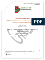 Proceedings of  4th International Conference on Learning, Education and Pedagogy (LEAP) , MALAYSIA 2016