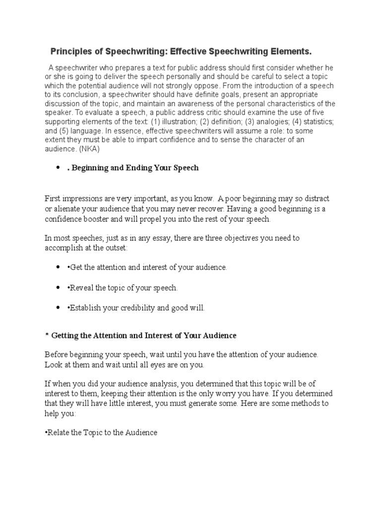 principles of speechwriting public speaking audience