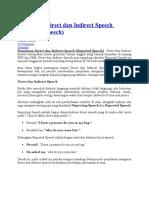 Penjelasan Direct Dan Indirect Speech