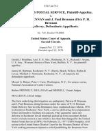 United States Postal Service v. Patricia H. Brennan and J. Paul Brennan D/B/A P. H. Brennan Hand Delivery, 574 F.2d 712, 2d Cir. (1978)