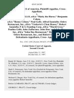 "United States of America, Cross-Appellant v. Matthew Ianniello, A/K/A ""Matty the Horse"" Benjamin Cohen, A/K/A ""Benny Cohen"" Paul Gelb Alfred Ianniello Osbro Restaurant, Inc., D/B/A ""Umberto's Clam House"" Robert Ianniello P & G Funding Corp., D/B/A ""Mardi Gras"" Pauline Gelb John Zaffarano John Doe and John Doe, Inc., D/B/A ""John Doe Restaurant,"" Osbro Restaurant, Inc., and Robert Ianniello, Cross, 824 F.2d 203, 2d Cir. (1987)"