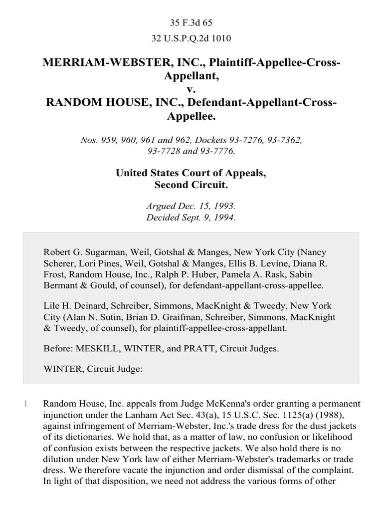 Random House, Inc., Defendant-Appellant-Cross-Appellee, 35 F.3d 65, 2d Cir.  (1994) | Trademark Dilution | Trademark Distinctiveness
