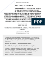 Ke Zhen Zhao v. United States Department of Justice, Janet Reno, Attorney General United States Department of Justice, Executive Office for Immigration Review, Board of Immigration Appeals, Office of the Immigration Judges United States Department of Justice, Doris Meisner, Commissioner of Immigration and Naturalization Service and Edward J. McElroy District Director, 265 F.3d 83, 2d Cir. (2001)