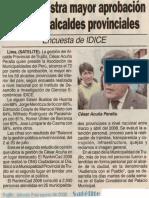 Satélite 02-08-08 Acuña registra mayor aprobación entre 59 alcaldes provinciales