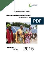 Solar Micro Grid Plants Report SE4All HIO CEMG Annual Report 2015