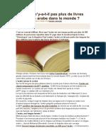 Pourquoi n'Y-A-t-il Pas Plus de Livres Traduits en Arabe Dans Le Monde