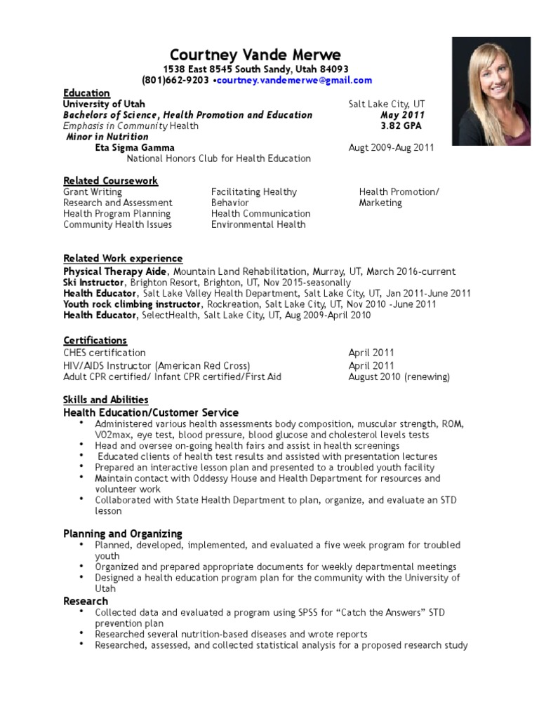 Vandemerwe Resume Health Education Physical Therapy
