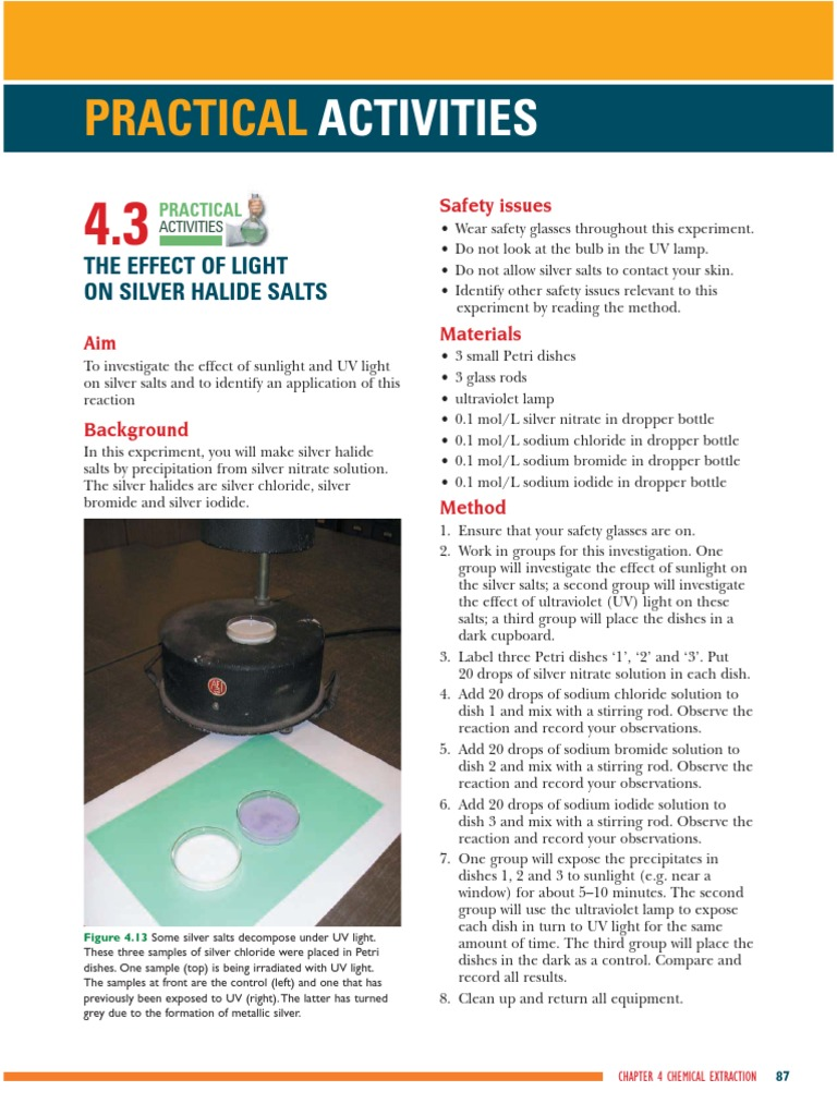 effect of light on silver halide A level chemistry aqa specification: 325 group 7(17), the halogens - identification of halide ions using silver nitrate.