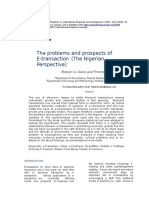 The Problems and Prospects of e Transaction the Nigerian Perspective